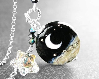 Crescent Moon Necklace Sterling Silver Chain Artisan Lampwork Moon Pendant Necklace Moon Star Necklace Celestial Jewelry Night Sky
