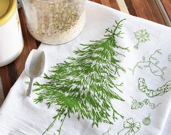 Tea Towel - Christmas Tree Flour Sack Towels - Kitchen Towels - Dish Towels - Tea Towels Flour Sack - Tea Towel Set - Screen Print Tea Towel