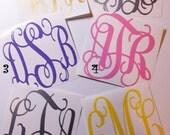 "3"" Vine Monogram -Vinyl Decal Stickers -Personalized Monograms -Initial Monograms -Laptop Decal - 3-Letter Monogram -Water Bottle Decal"