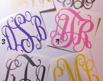 Vine Monogram - Vinyl Decal Stickers - Personalized Monograms - Initial Monograms -Laptop Decal - 3-Letter Monogram -Water Bottle Decal