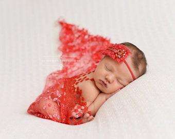 Red Tassels Lace Baby Wrap Newborn Photography Prop