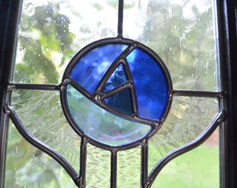 Stained Glass Blue Rose Abstract Panel - Framed Victorian Style Window Suncatcher