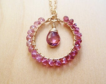 Pink Tourmaline Circle Gold necklace. Beaded wire wrapped circle pendant. October birthstone. Gifts for Libra. Tourmaline necklace. Ombre