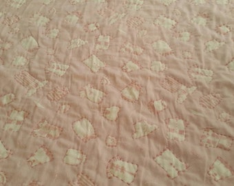 Baby Quilt, Pink, Baby girl, Flannel, Hand quilted