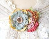 Floral Sash Pin, Brooch for Bridal Shawl, Colorful Fabric Flower Pin, Wedding Corsage, Fiesta Wedding, Rainbow Wedding, Wedding Dress Pin