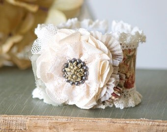 Wrist Corsage, Fabric Flower Cuff Bracelet, Textile Cuff for Women, Teen Girl Gift, Vintage Button Bracelet, Wedding Bridesmaid Jewelry Idea