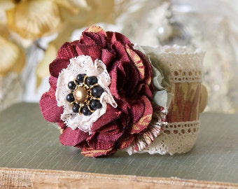 Prom Corsage, Burgundy Fabric Flower Wrist Corsage, Black Red Bracelet, Womens Textile Cuff, Bridesmaid Bracelet, Gift for Women and Girls