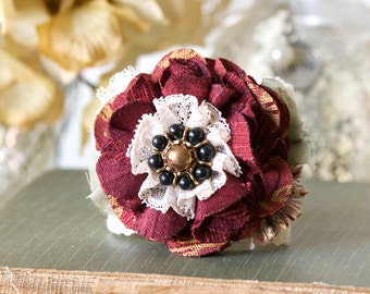 Gift for Women and Girls, Burgundy Fabric Flower Wrist Corsage, Black Red Bracelet, Womens Textile Cuff, Bridesmaid Bracelet, Prom Corsage