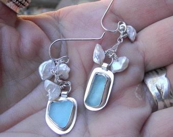 Beachglass and kieshi pearl earrings