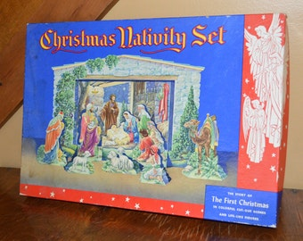 1950's Christmas Cardboard Nativity Set Cut Out Scenes in box