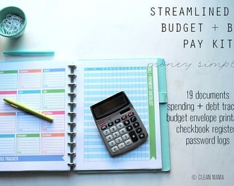 MONEY - The Streamlined Life BUDGET + BILL Pay Kit - 19 documents - standard and half size included - Instant Download