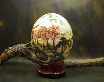Landscape, Hand Painted Ostrich Egg/ Ostrich Egg Shell Art/ Egg Art/ Art Egg