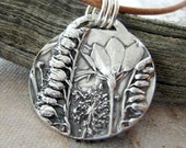 Parade No. 2, Fine Silver Flower Pendant, Natural Plant Reproduction, Wildflowers, Handmade by SilverWishes