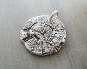 The Secret Lives of Trees, Fine Silver Tree Rings and Texture Pendant, Handmade by SilverWishes