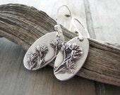 Cheer, Fine Silver Flower Earrings with Sterling Earwires, Natural Plant Reproduction, Wildflowers, Handmade by SilverWishes