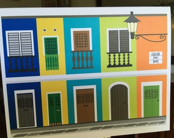 Puerto Rico, Old San Juan houses note cards, calle del sol illustration