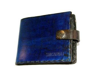 Leather wallet, blue wallet, blue leather wallet, billfold, card holder, snap wallet, card wallet