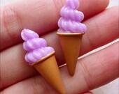 Dollhouse Ice Cream Cabochon in 3D (2pcs / 11mm x 31mm / Lavender Purple) Doll Sweets Miniature Dessert Kawaii Deco Decoden Pieces FCAB433