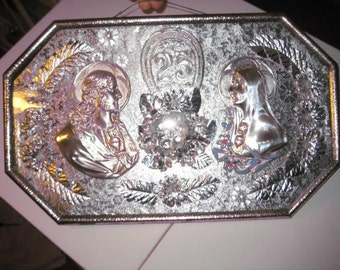 Vintage SACRED & IMMACULATE HEARTS in Ornate Metal Frame with Convex Bubble Glass