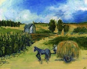 "Original Oil Painting, Countryscape ,Oil Sketch , Small Art 7 X 9,""Work Day"",Canvas, Amish Farmer,Cornfields,Horse,Country, Rural Landscape"
