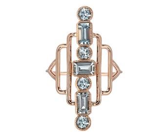 Aquamarine Ring, Deco Ring, Emerald Cut Ring, Gold Ring, Statement Ring, Mothers Ring, Birthstone Ring, Something Blue, Ring, Ring, Nixin