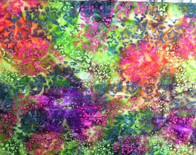 Green pink purple Stars Hand dyed batik fabric quilt fabric by the yard Fat quarter 100% cotton fabric yardage
