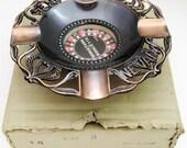 Vintage Souvenir RENO NEVADA Miniature MIB Japan Roulette (Works) Ashtray Copper