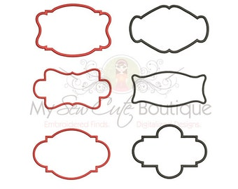 Scroll Machine Applique Frame Design - 10 Sizes Each - Instant Download
