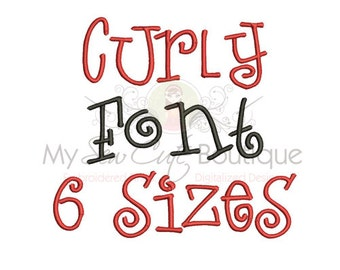 Curly Embroidery Font - 6 Sizes - Instant Download
