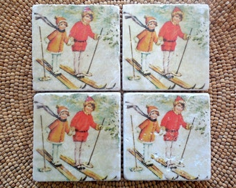 "Marble Stone Coaster Set - ""Sweet Children"" - Ski Decor - Ski Coaster - Rustic Decor - Ski - Coaster - Vintage Ski - Natural Stone"