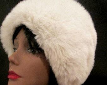 Fur Bonnet.  Fur Cap.  Fur Hat.  Faux Fur Winter Hat.  Mod Fur Hat.