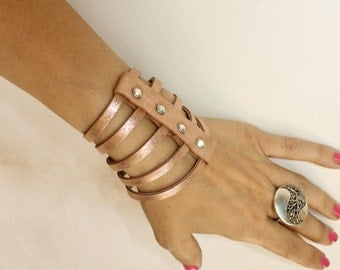 Multi Strand Cuff Sliced Metallic Rose Gold Leather Bracelet Swarovski Crystals