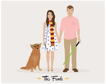 Custom Family Portrait, couple portrait