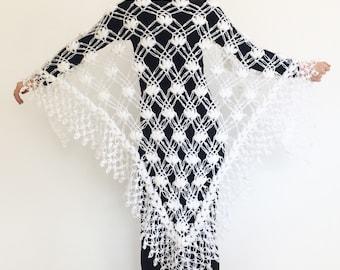 White shawl bolero wedding crochet