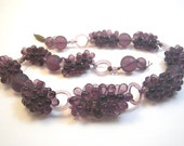 Purple Glass Grape Cluster Necklace for Repair