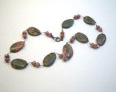 Unakite Pink & Green Stone Necklace - Choker - Hand Strung Beads