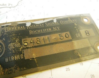 General Railway Signal Company Copper Sign Plate Massachusetts