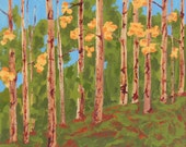 autumn landscape painting, autumn trees, original art, FREE shipping in U.S. only