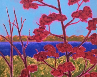 "autumn painting, maine lake in autumn, titled ""A Glimpse of the Lake"", 16in x 12in acrylic on canvas, FREE shipping in the U.S."