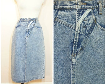 90s Denim Maxi Skirt Large XL Acid Wash Jordache High Waisted Skirt Hipster Normcore Jeans Skirt