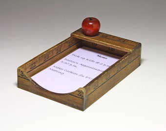Vintage Ruler Note Caddy, Wood Note Caddy - circa 1960's