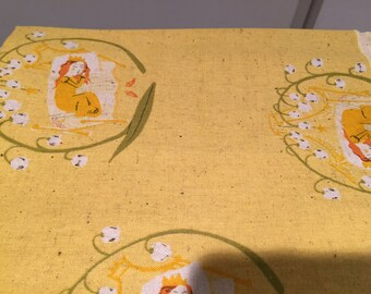 Heather Ross Kokka Far Far Away 2 Yellow Sleeping Beauty FQ