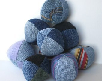 Dog Ball Toy Reclaimed Denim grab bag