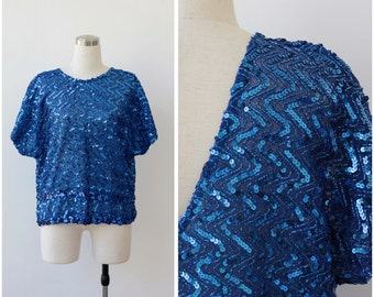 1980s Sequins Blouse Electric Blue Sequin Top Disco Glam Glitter Party Embellished Top