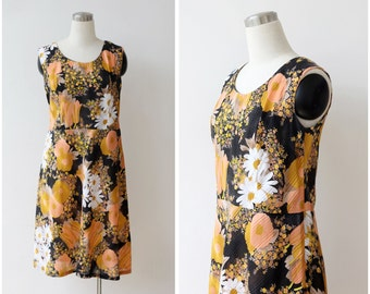 1970s Floral Dress M L, Sleeveless Summer Dress Daisies Sundress Casual Dress