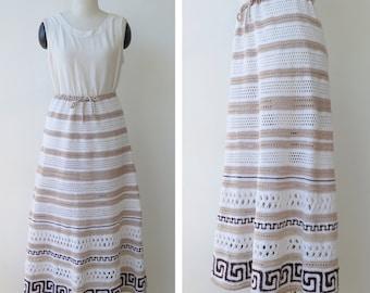 1970s Vintage Knit Skirt Boho Skirt Crochet Skirt Bohemian Festival Hippie Long Knitted Skirt M