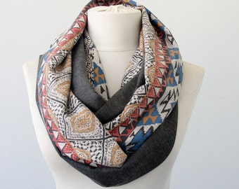 Infinity scarf tribal scarf fashion scarves for women winter accessories aztec printed scarf gray scarf bohemian scarf gift for her