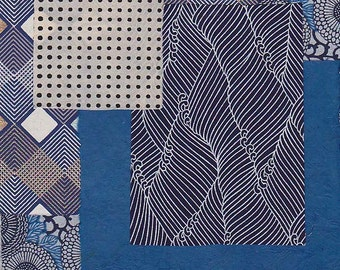 blue and white paper scrap pack