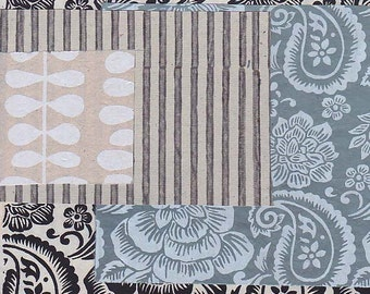 blue, grey & natural paper scrap pack
