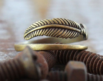 Antique Feather Ring Gold Oxidized Brass Mens and Womens Unique Rings